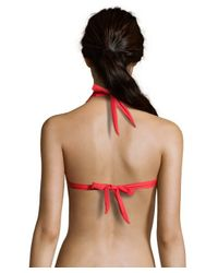 Shoshanna - Cherry Red Solid Bamboo Ring Halter Bikini Top - Lyst