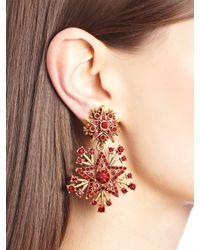 Oscar de la Renta - Red Claret Swarovski Crystal Pavé Star Drop Earrings - Lyst