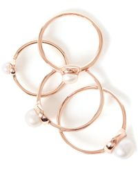 Eddie Borgo - Pink Rose Gold-plated Stackable Pearl Midi Ring Set - Lyst