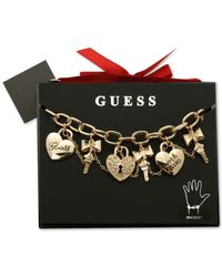 Guess - Metallic Gold-tone Crystal Charm Gifting Bracelet - Lyst