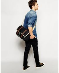 ASOS - Satchel In Black With Faux Leather Straps for Men - Lyst