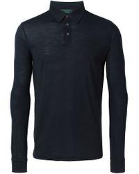 Zanone - Black Long Sleeve Polo Shirt for Men - Lyst