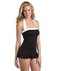 Lauren by Ralph Lauren | Black Halter Onepiece Swimdress | Lyst
