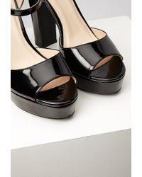 Forever 21 | Black Faux Patent Platform Sandals | Lyst