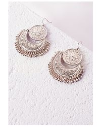 Missguided - Metallic Coin Detail Drop Earrings Gold - Lyst