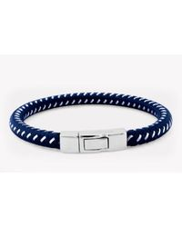 Tateossian | Stenyl Bracelet In Blue Nylon And Steel Wire With Silver Clasp for Men | Lyst