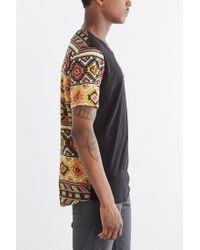 BDG | Black Pattern Blocked Standard-fit Wide Neck Pocket Tee for Men | Lyst