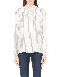 FRAME - Black Popover Neck-tie Silk Shirt - Lyst