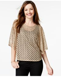 Style & Co. | Metallic Crocheted Poncho | Lyst