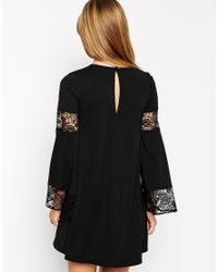 ASOS | Black Boho Swing Dress With Long Sleeve And Lace Inserts | Lyst