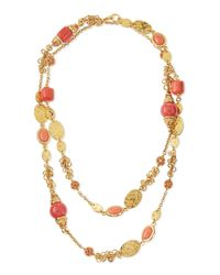Jose & Maria Barrera | Metallic Long 24k Gold-plate Bead Necklace | Lyst