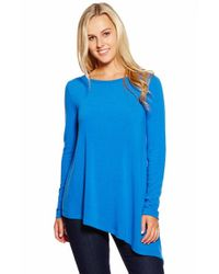 Karen Kane - Blue Asymmetric-Hem Knitted Top - Lyst