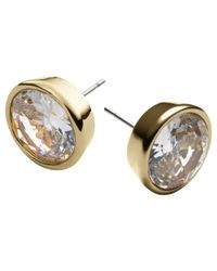 Michael Kors | Metallic Clear Cubic Zirconia Stud Earrings | Lyst
