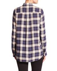 Theory - Blue Simara Plaid Shirt - Lyst