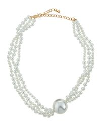 Kenneth Jay Lane | Metallic Layered Pearlescent Bead Statement Necklace | Lyst