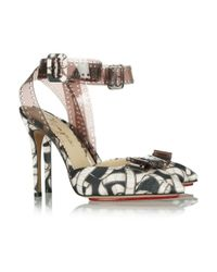 Charlotte Olympia | Black Premiere Filmprint Satin and Vinyl Pumps | Lyst