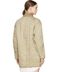 Étoile Isabel Marant | Natural Khaki Linen Fluffy Quilted Cali Coat | Lyst