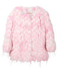 Chloé | Pink Fox Fur Coat | Lyst