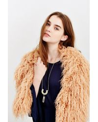 Urban Outfitters - Brown Mongolian Faux Fur Collar Scarf - Lyst