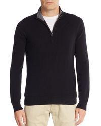 Saks Fifth Avenue | Black Cashmere Quarter-zip Pullover for Men | Lyst
