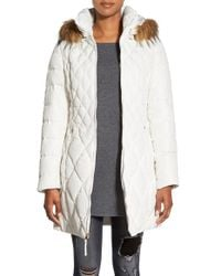 Jessica Simpson | White Faux Fur Trim Hooded Quilted Down & Feather Fill Coat | Lyst