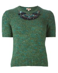P.A.R.O.S.H. - Green 'nelson' Shortsleeved Sweater - Lyst
