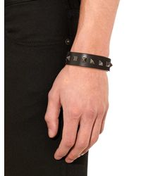 Valentino - Black Rockstud Leather Bracelet for Men - Lyst