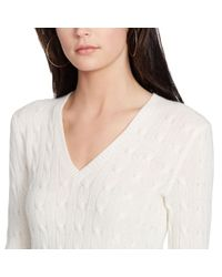 Polo Ralph Lauren | Natural Cabled Cashmere V-neck Sweater | Lyst