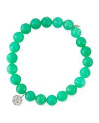Sydney Evan | Green 8mm Chrysoprase Beaded Bracelet With Diamond Disc Charm | Lyst