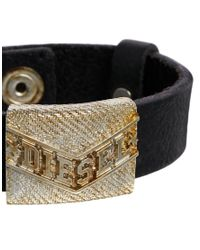 DIESEL - Black Abade Leather Bracelet for Men - Lyst