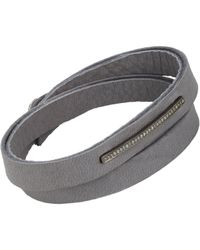 Feathered Soul | Gray Pave Diamond & Leather Alignment Bar Wrap Bracelet | Lyst