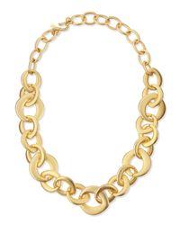 Kenneth Jay Lane | Metallic Golden Satin Link Chain Necklace | Lyst