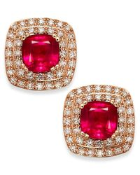 Effy Collection - Red Rosa By Effy Ruby (1-3/4 Ct. T.w.) And Diamond (1/4 Ct. T.w.) Stud Earrings In 14k Rose Gold - Lyst