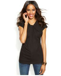 INC International Concepts | Black Short-Sleeve Twisted Top | Lyst