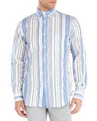 Yohji Yamamoto - Blue White Contrast Stripe Sport Shirt for Men - Lyst