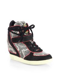 Ash | Brendy Snakeskin Leather Wedge Sneakers | Lyst