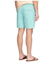 "Brooks Brothers | Green Montauk 6"" Gingham Swim Trunks for Men 
