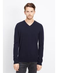 Vince - Blue Cashmere V-neck Sweater With Raised Seam Detail for Men - Lyst