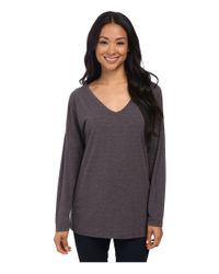Allen Allen | Gray Long Sleeve Drop Shoulder Dolman Vee | Lyst