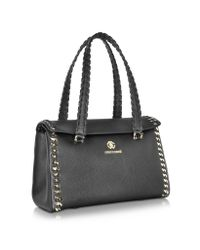 Roberto Cavalli - Black Leather And Metal Chain Medium Satchel - Lyst