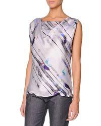 Giorgio Armani - Multicolor Sleeveless Watercolor Silk Satin Top - Lyst