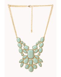 Forever 21 | Metallic Statement Faux Stone Bib Necklace | Lyst
