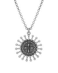Lucky Brand | Metallic Blossom Long Pendant Necklace | Lyst