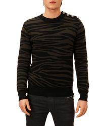 Balmain - Black Zebra Jacquard Sweater for Men - Lyst