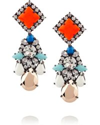 Shourouk - Orange Gunmetal-Tone Crystal Earrings - Lyst