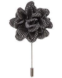 Lanvin - Black Houndstooth Flower Tie Pin for Men - Lyst