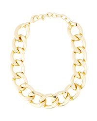 Kenneth Jay Lane | Metallic Oversize Curb Link Necklace | Lyst