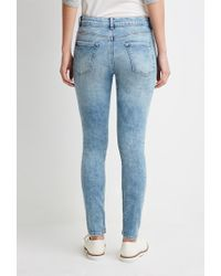 Forever 21 | Blue Faded Mid-rise Skinny Jeans | Lyst