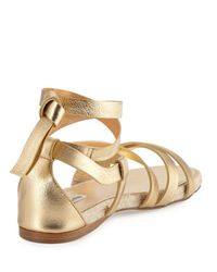 Miu Miu - Metallic Suede Ankle-Wrap Espadrille Sandals-Gold Size 8.5 - Lyst