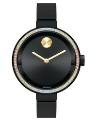 Movado | Black 'bold' Diamond Bezel Bangle Watch | Lyst